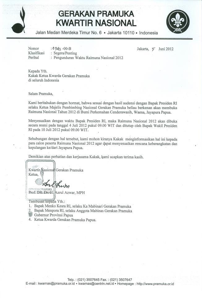 Contoh Surat Pengunduran Diri Dari Organisasi Pramuka