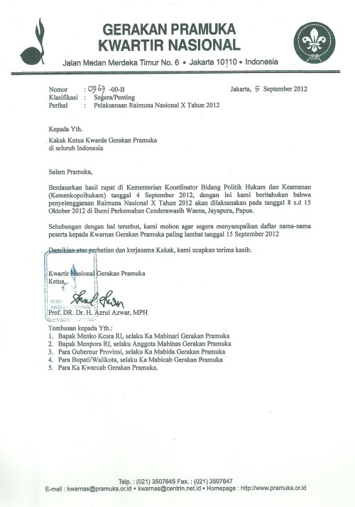 Edaran Pelaksanaan RAINAS X tahun 2012